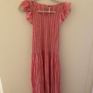 Pink and White Striped Midi Free People Dress